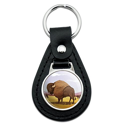 - American Bison Buffalo Herd on the Plains Black Leather Keychain