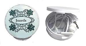 Auriculares in-ear en una caja personalizada con Juneda (ciudad / asentamiento)