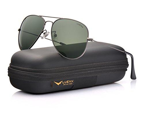 Léger 400 Avec 60mm Soleil Monture de Lunettes gris Métal Étui Polarisé Vert UV Homme 17 Miroir Lunettes Protection LUENX Poids pw7q1X