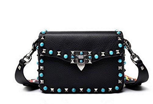 perles Sac multicolore orné avec Main à de 2 lanières toile en clous en Noir large et JohnWen cuir de g0qpwxpaWd