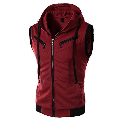 Sunhusing Men's Stitching Sports Pocket Hooded Vest Gilet Top + Multi-Zipper Pants Set Tracksuit
