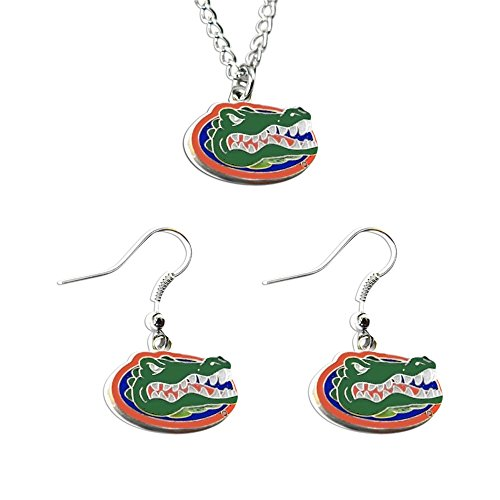 Team Necklace Logo - NCAA Florida Gators Sports Collegiate Team Logo Necklace and Dangle Earring Charm Set