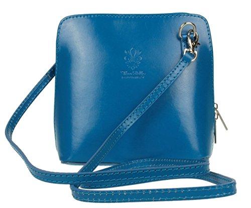 Italian Blue Leather Vera Mini or Bag Shoulder Sky Genuine Handbag Bag Small Body Pelle Cross q4d4C5U