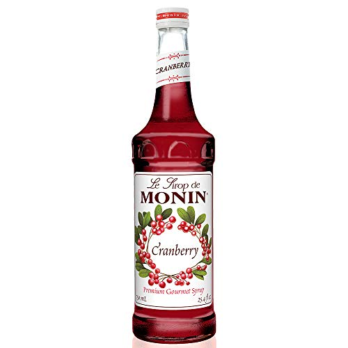 Monin - Cranberry Syrup, Tangy and Sweet Berry Flavor, Natural Flavors, Great for Margaritas, Cocktails, Hot and Cold Berry Teas, Lemonades, and Sodas, Vegan, Non-GMO, Gluten-Free (750 ml)