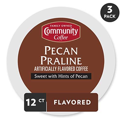 Community Coffee Pecan Praline Flavored Medium Roast Single Serve 36 Ct Box, Compatible with Keurig 2.0 K Cup Brewers, Medium Full Body Sweet Hints of Pecan, 100% Arabica Coffee Beans
