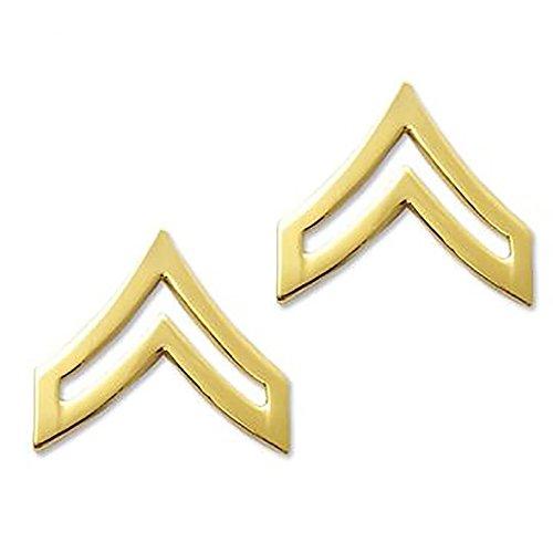 (US Army Brite Metal Pin-On Rank - Corporal)