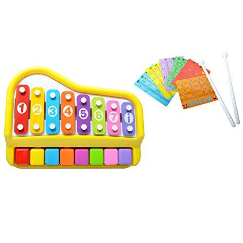Fenteer 2 en 1 Mini-piano à 8 Clés Xylophone avec Marteau et Cartes de Musique Cadeau de Fête D'anniversaire Pour Enfant