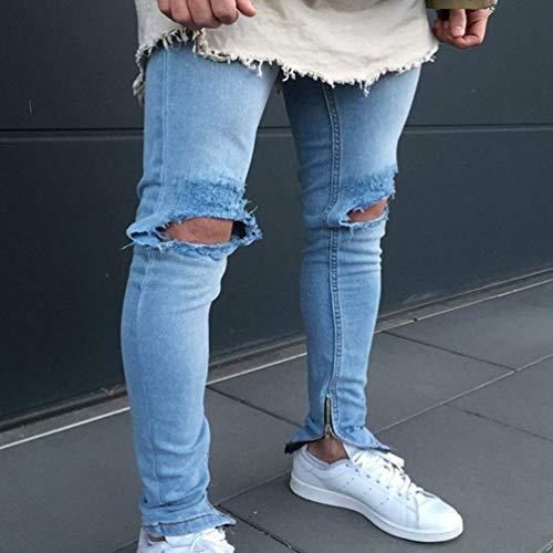Pantaloni Strappati Decorazione Ruggine Stretch In Uomo Jeans Fori Con A Casual Denim Matita Ragazzi Stropicciatura Color Classiche Chiusura Lavati 1846 Da Dritta paAxqP
