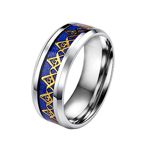 PAURO Men's Stainless Steel Navy Blue Freemason Masonic Band Rings Beveled Edge Size - Ring Masonic Mason Men