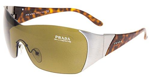 PRADA SPR 73G Wrap Shield Tortoise Brushed Metal Brown Sunglasses Unisex - Prada Shield Mens Sunglasses