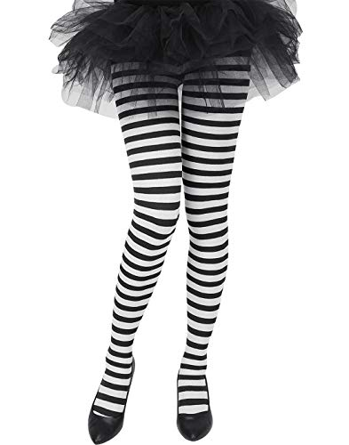(HDE Women's Striped Tights Opaque Microfiber Stockings Nylon Footed Pantyhose)