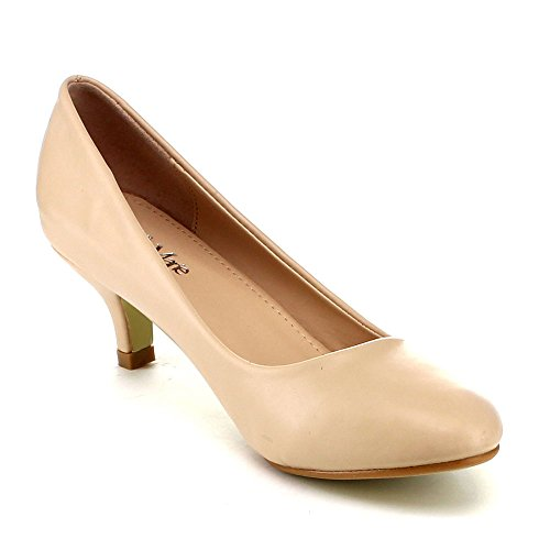 Bellamarie Nine-8 Donna Comode Slip Slip On Pump Party Dress Kity Scarpe Tacco, Colore: Nude, Dimensioni: 5.5