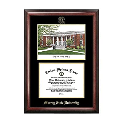 Campus Images Sports Team Logo Design Murray State University Gold Embossed Diploma Frame with Campus Images Lithograph