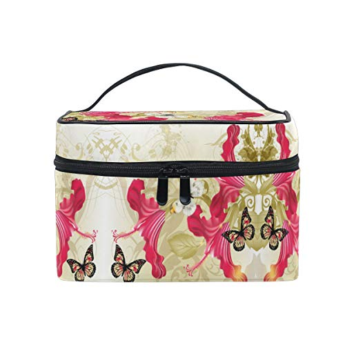 Butterfly Flower Print Women Makeup Bag Travel Cosmetic Bags Toiletry Train Case Beauty Pouch Organizer -