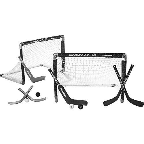 Franklin Sports Mini Hockey Goal Set of Two - NHL Approved - Black - Includes 2 Mini Hockey Goals, 4 Hockey Sticks, 2 Goalie Sticks, and 4 Foam Hockey Balls
