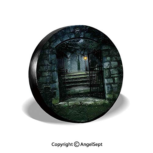 Spare Tire Cover,Illustration of The Gate of a Dark Old Haunted House Cemetary Dead Myst Fiction Art Print,Grey Green,for Jeep Trailer RV SUV Truck Camper Travel Trailer Accessories,14 Inch