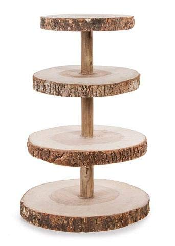 Floral Home David Tutera 4-Tier Rustic Wood Slice Cupcake Stand - 16.25'' Tall