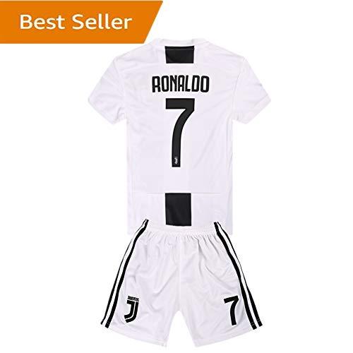 SUIROSE  7 Ronaldo Juventus Kids Youth Home Boys Soccer Jersey   Shorts 18- 19 Season White 7-8Years 22 76b40e63d