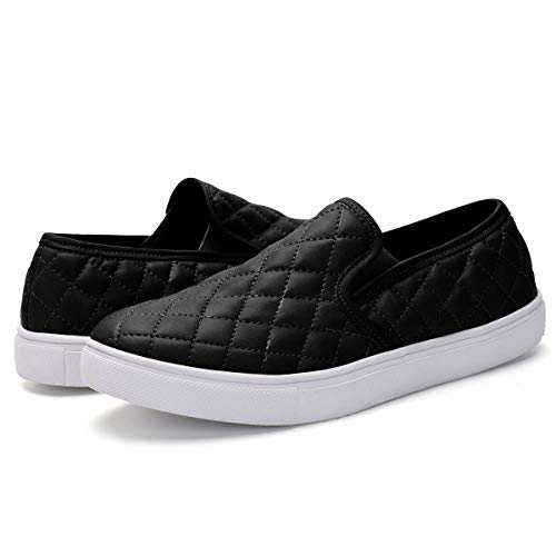 - Athlefit Women's Quilted Slip On Sneakers Comfort Flat Shoes Loafers EU41 Black