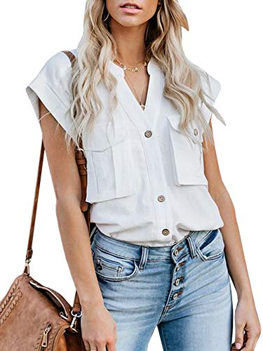 Asymmetric Sleeve Top - Niitawm Womens Button Down Shirts Cap Sleeve Workout Tank Tops V-Neck High Low Asymmetric with Pockets White
