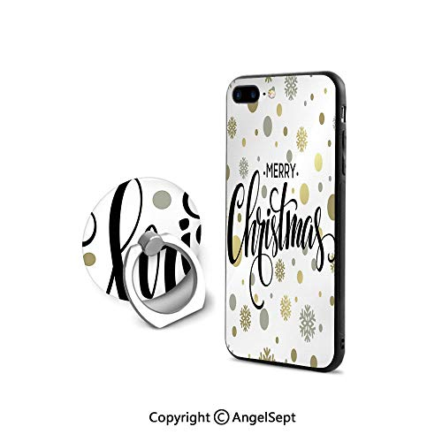 Protective Case for iPhone 8/iPhone 7 with Ring Holder Kickstand,Merry Christmas Stylized Lettering on Abstract Modern Snowflake Dot Pattern Decorative,Ultra Thin Slim Cover Case,Gold Taupe Black