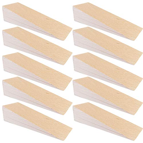 """Door Stops, Secure Wood Door Stoppers for Decor and Security, Chair Caning Tool, Decorative Door Holder   5.90"""" x 1.97"""" x 1.57""""  - haggiy (10 Pack)"""