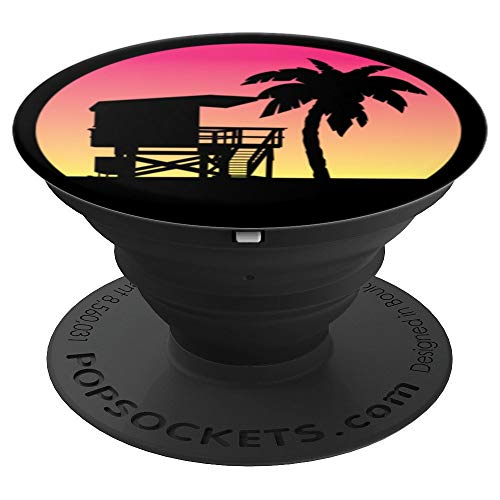 California Beach Lifeguard Hut/Palm Tree Sunset - PopSockets Grip and Stand for Phones and Tablets