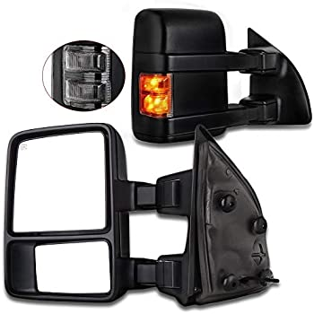PAIR SET POWER HEATED,W//AMBER SIGNAL,W//PUDDLE LIGHT,BLACK Perfit Zone Towing Mirrors Replacement Fit for 2004-2007 FORD F-150