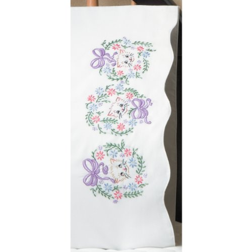 Tobin Stamped Pillowcase Pair Stamped Cross Stitch Kit for Embroidery, 20 by 30-Inch, Flower Cats