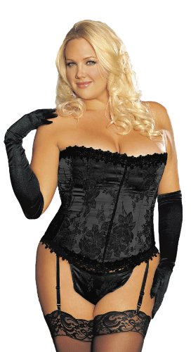 Shirley of Hollywood Women's Stunning Plus Size Floral Tapestry Strapless Corset, Black, 38