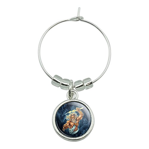 - Zeus Greek God Mythology Lightning Wine Glass Charm Drink Marker