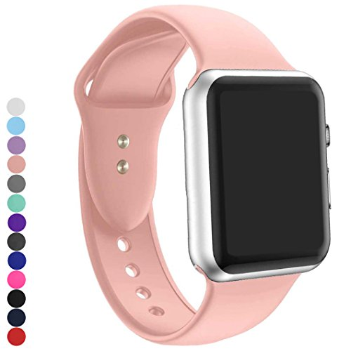 a8Miss Apple Watch Band, Silicone Replacement Iwatch Bands Series 1, Series 2,Series 3 (38mm S/M, Pink) - One Silicone