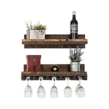 DAKODA LOVE - Rustic Luxe Floating Wine Shelf & Glass Rack Set, USA Handmade, Pine Wood (6H x 24W x 10D, Walnut)