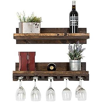 wall mounted wine glass rack shelf glass holder cabinet floating wine shelf and glass rack set wall mounted rustic pine wood handmade amazoncom mounted