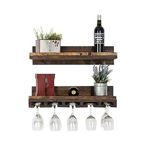 Floating Wine Shelf and Glass Rack Set (Wall Mounted), Rustic Pine Wood Handmade by del Hutson Designs (6H x 24W x 10D, Walnut) - Glass Racks Bars