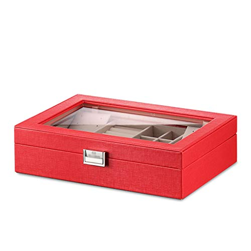 Jueven Jewellery Box Organiser with Lock Small Travel Jewellery Case Portable Faux Leather Jewellery Organiser Box Storage Holder Large Mirror Women Girls (Color : Red)