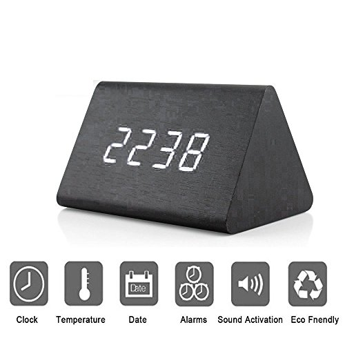 Bashley Modern Triangle Wood LED Wooden Alarm Digital Desk Clock with Date and Temperature Sound Control Desk Alarm Clock for Kids Bedroom, Home, Office-Black