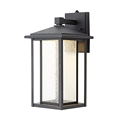 Home Decorators Collection Black Medium Outdoor Seeded Glass Dusk to Dawn LED Wall Lantern
