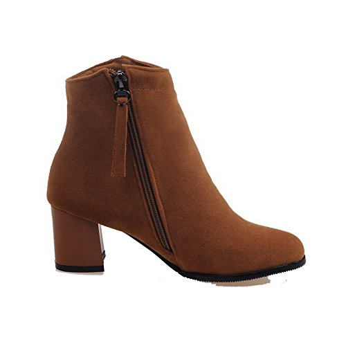 Boots Heels Kitten Brown top Toe Closed WeiPoot Low Solid Round Zipper Women's xwUggzq8Pv
