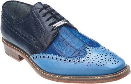 Belvedere Men's Ciro Wing Tip,Light Blue/Ocean/Navy Crocodile/Italian Calf,US 10 (Belvedere Shoes For Men compare prices)