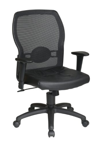 Office Star Breathable Woven Mesh Back and Leather Seat with Built-in Lumbar Support Office Chair, ()