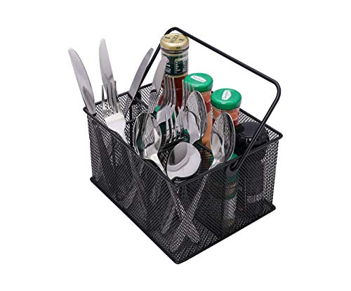 TQVAI Utensil Caddy Silverware Napkin Holder Mesh Condiment Organizer - Black