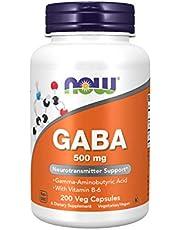 NOW Supplements, GABA (Gamma-Aminobutyric Acid)500 mg + B-6, 200 Count, Veg Capsules