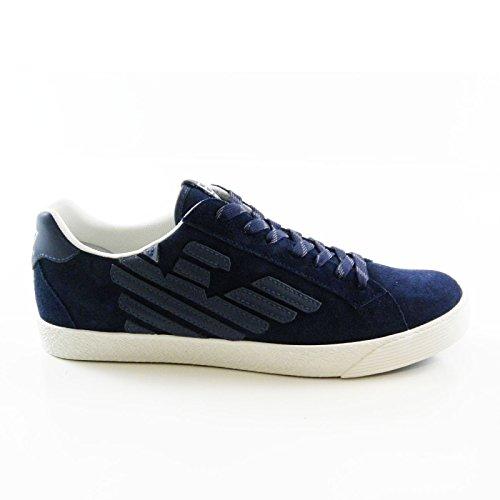 Emporio Armani - Zapatillas de Piel para hombre Azul azul