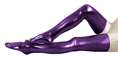 VSVO Purple Metallic Spandex Party Thigh High Skintight Costume Stockings (31