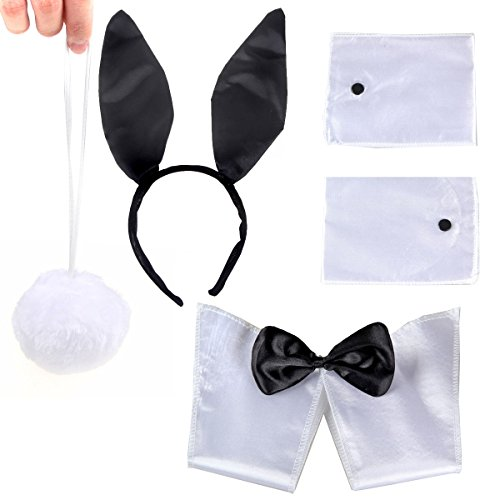 Bunny Black White Ears Collar Bowtie Cuffs Tail Costume Set For Adults Funny Party -