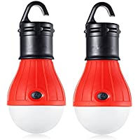 Pack of 2 SweetNa Portable LED Tent Light Bulb for Camping Hiking Fishing Car Emergency Light (Red)