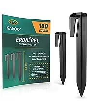 kanoo® Grondpennen voor robotmaaier begrenzingskabel – 100 x grondhaken voor veilig vastzetten van grensdraad in de tuin – stabiele grondpennen van kunststof voor snelle montage in de grond