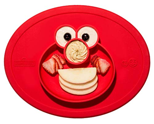 ezpz Sesame Street Elmo Mat - One-Piece Silicone placemat + Plate (Red) ()