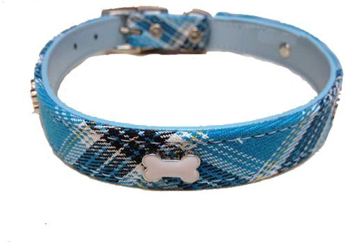 Blue Plaid Leather Dog Collar - Pet Palace Tartan Scottie Leather Luxury Collar For Dogs Proud Of Their Heritage Medium 14 - 17 Inch Neck Blue